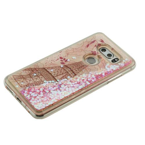 LG V30 Case, Slim Crystal Back Bumper Case [Drop Protection] [Eiffel Tower & Rose Gold Stars] Quicksand Glitter Flexible Border Case