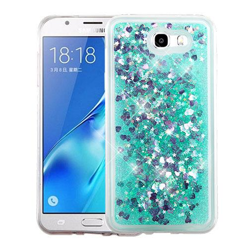 Samsung Galaxy J7 [2017]/ Galaxy J7 Perx/ J7 V/ Galaxy Halo Case, Slim Crystal Back Bumper Case [Drop Protection] [Green & Hearts] Quicksand Glitter Flexible Border Case with Travel Wallet Phone Stand