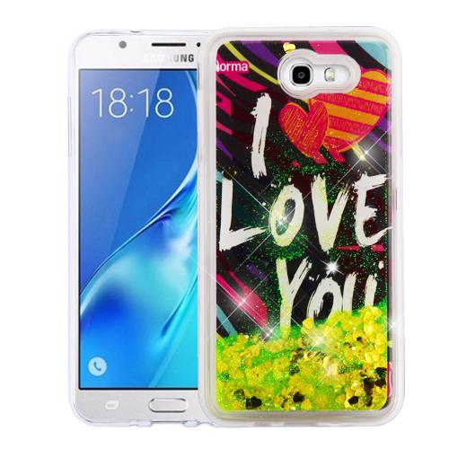 Samsung Galaxy J7 [2017]/ Galaxy J7 Perx/ J7 V/ Galaxy Halo Case, Slim Crystal Back Bumper Case [Drop Protection] [I Love You & Gold Hearts] Quicksand Glitter Flexible Border Case with Travel Wallet Phone Stand