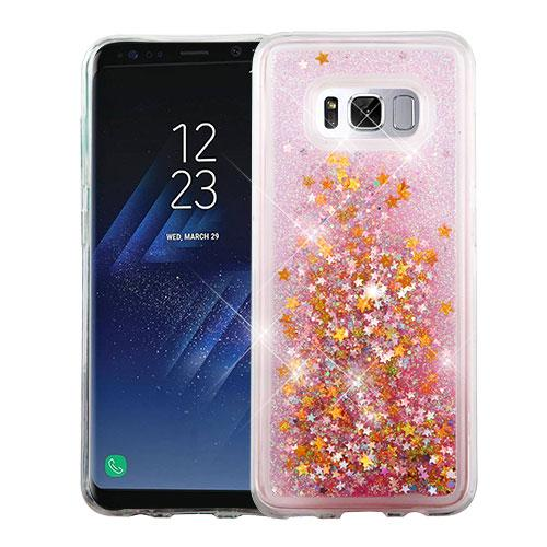 Samsung Galaxy S8 Glitter Case, Slim Crystal Back Bumper Case [Drop Protection] [Baby Pink & Stars] Quicksand Glitter Flexible Border Case with Travel Wallet Phone Stand