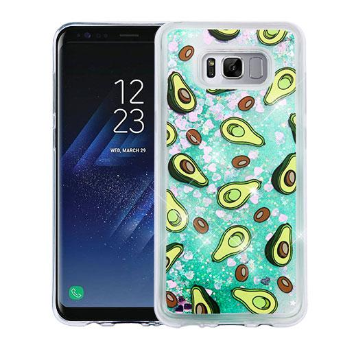 Samsung Galaxy S8 Plus Glitter Case,  Slim Crystal Back Bumper Case [Drop Protection] [Avocados & Green w/ Hearts] Quicksand Glitter Flexible Border Case with Travel Wallet Phone Stand