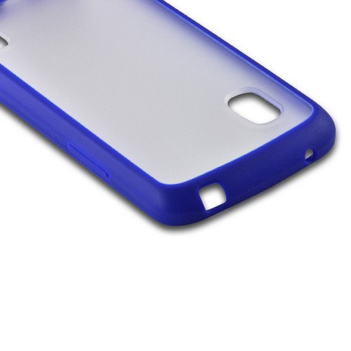 Blue/ Clear Hard Back w/ Matte Silicone Border for LG Google Nexus 4