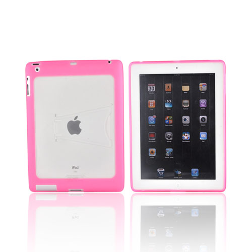Apple iPad 2 Hard Back w/ Gummy Border & Stand Case - Pink/ White