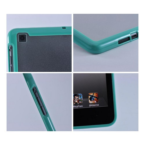 Made for Apple iPad Mini Turquoise/ Clear Hard Case w/ Crystal Silicone Border by Luxmo