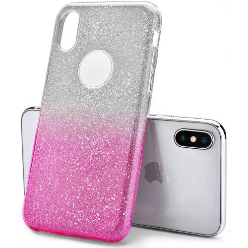 Made for [Apple iPhone X / XS 2018] Crystal Back Case, [Hot Pink] Two Tone Glitter Hybrid Candy Case [Fashionable Protection] Flexible Plastic TPU Cover by Redshield