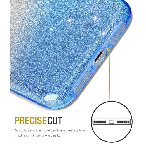 Made for [Apple iPhone X / XS 2018] Crystal Back Case, [Light Blue] Two Tone Glitter Hybrid Candy Case [Fashionable Protection] Flexible Plastic TPU Cover by Redshield