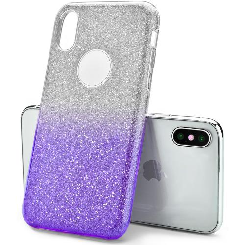 Made for [Apple iPhone X / XS 2018] Crystal Back Case, [Purple] Two Tone Glitter Hybrid Candy Case [Fashionable Protection] Flexible Plastic TPU Cover by Redshield