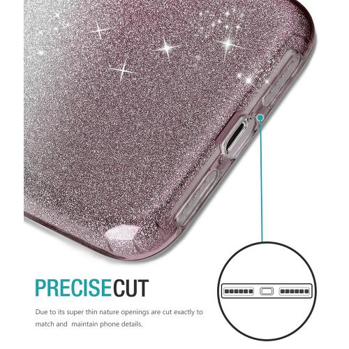 Apple iPhone X Crystal Back Case, [Smoke] Two Tone Glitter Hybrid Candy Case [Fashionable Protection] Flexible Plastic TPU Cover