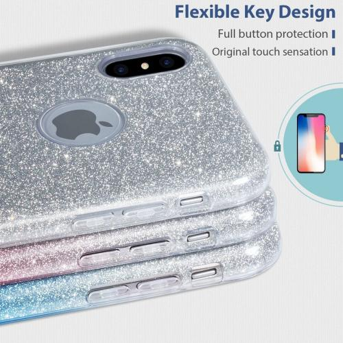 Made for [Apple iPhone X / XS 2018] Crystal Back Case, [Silver] Glitter Hybrid Candy Case [Fashionable Protection] Flexible Plastic TPU Cover by Redshield