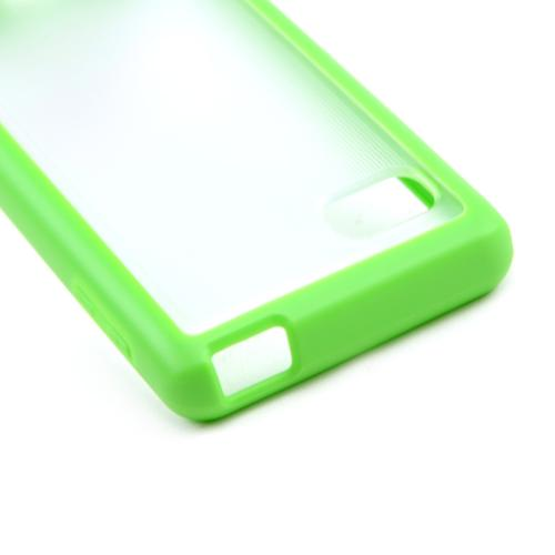 Clear Hard Back w/ Neon Green Crystal Silicone Skin Border for LG Optimus F3