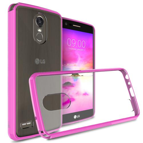 LG Stylo 3/ Stylo 3 Plus Hybrid Case, Crystal Back Bumper Case [Drop Protection] [Hot Pink] Flexible Border Case with Travel Wallet Phone Stand