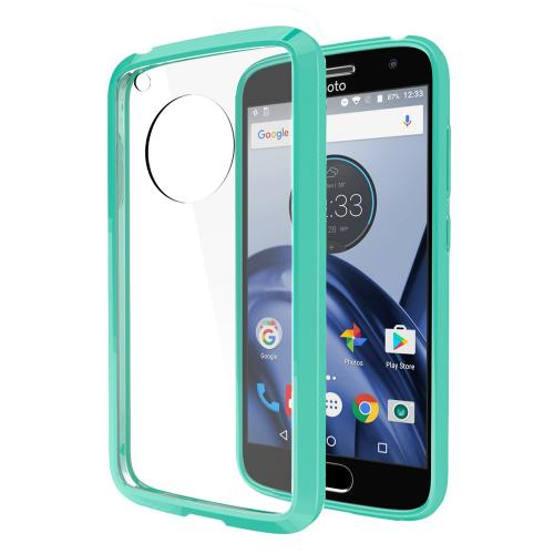 Motorola Moto G5 Case, REDshield [Mint] [Drop Protection] Crystal Back TPU Bumper w/ Flexible Border with Travel Wallet Phone Stand