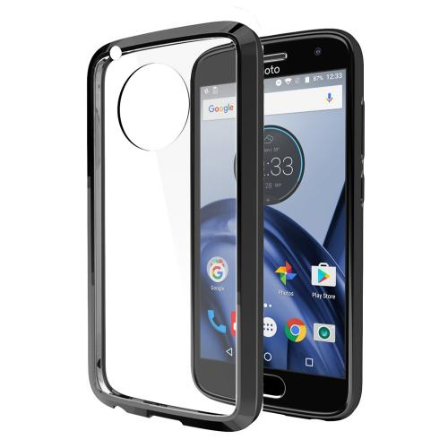 Motorola Moto G5 Plus Case, REDshield [Black] [Drop Protection] Crystal Back TPU Bumper w/ Flexible Border with Travel Wallet Phone Stand