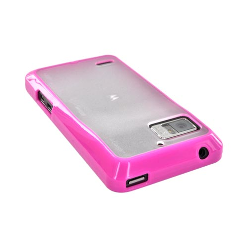 Motorola Droid Bionic XT875 Hard Back Case w/ Gummy Crystal Silicone Lining - Hot Pink/ Frost White