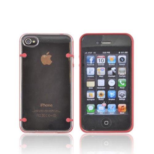 AT&T/ Verizon Apple iPhone 4, iPhone 4S AquaFlex Hybrid Hard Case w/ Crystal Silicone Border & Screen Protector - Red/ Clear - XXIP4