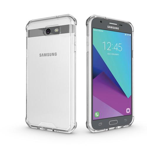 Samsung Galaxy J7 [2017]/ Galaxy J7 Perx/ J7 V/ Galaxy Halo Hybrid Case, Crystal Back Bumper Case [Drop Protection] [Clear] Flexible Border Case with Travel Wallet Phone Stand