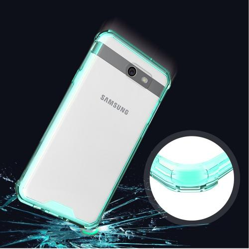 Samsung Galaxy J7 [2017]/ Galaxy J7 Perx/ J7 V/ Galaxy Halo Hybrid Case, Crystal Back Bumper Case [Drop Protection] [Mint] Flexible Border Case with Travel Wallet Phone Stand