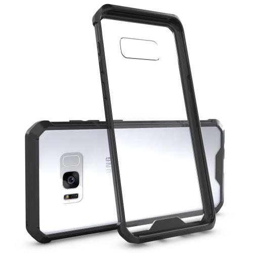 Samsung Galaxy S8 Bumper Case, Crystal Back Bumper Case [Drop Protection] [Black] Flexible Border Case with Travel Wallet Phone Stand