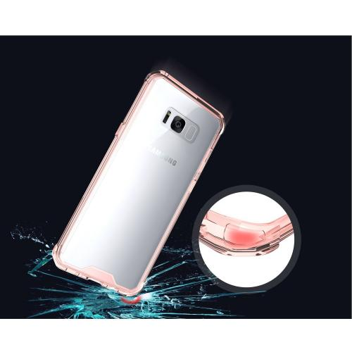 Samsung Galaxy S8 Bumper Case, Crystal Back Bumper Case [Drop Protection] [Baby Pink] Flexible Border Case with Travel Wallet Phone Stand