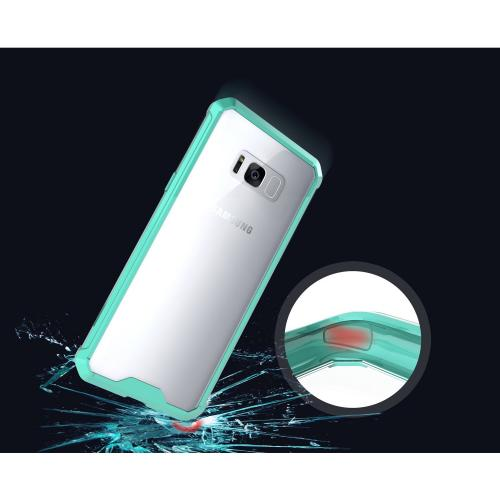 Samsung Galaxy S8 Bumper Case, Crystal Back Bumper Case [Drop Protection] [Mint] Flexible Border Case with Travel Wallet Phone Stand