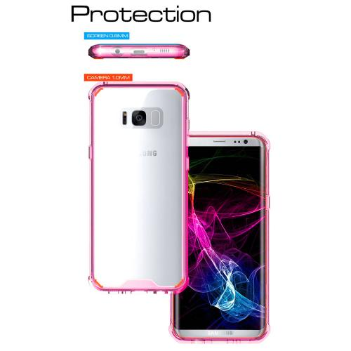Samsung Galaxy S8 Plus Bumper Case, [RedShield] Crystal Back Bumper Case [Drop Protection] [Hot Pink] Flexible Border Case with Travel Wallet Phone Stand