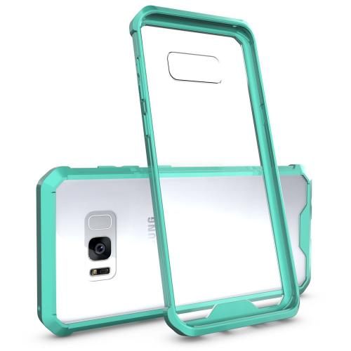 Samsung Galaxy S8 Plus Bumper Case, [RedShield] Crystal Back Bumper Case [Drop Protection] [Mint] Flexible Border Case with Travel Wallet Phone Stand