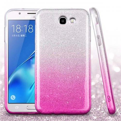 Samsung Galaxy J7 [2017]/ Galaxy J7 Perx/ J7 V/ Galaxy Halo Crystal Back Case, [Hot Pink] Two Tone Glitter Hybrid Candy Case [Fashionable Protection] Flexible Plastic TPU Cover