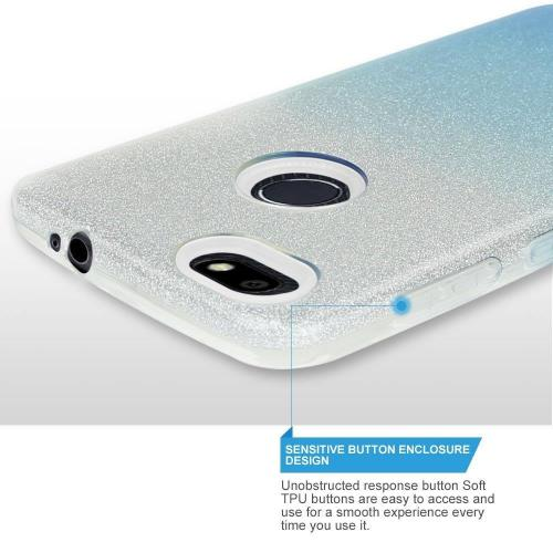 ZTE Blade X Crystal Back Case, [Light Blue] Two Tone Glitter Hybrid Candy Case [Fashionable Protection] Flexible Plastic TPU Cover