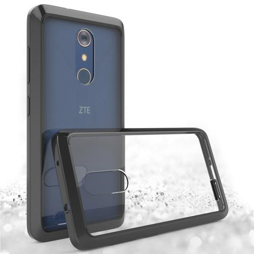 ZTE Z Max Pro Case, Crystal Back Bumper Case [Drop Protection] Flexible Border Case [Black] with Travel Wallet Phone Stand