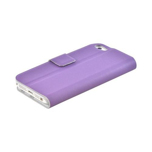 Premium Apple iPhone 5/5S Dolce Faux Leather Case Stand - Purple