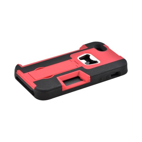 Made for Apple iPhone SE / 5 / 5S  Case,  [Red/ Black]  Silicone Over Hard Case w/ Bottle Opener w/ ID Holder Stand by Redshield