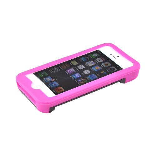 Made for Apple iPhone SE / 5 / 5S  Case,  [Hot Pink/ Black]  Silicone Over Hard Case w/ Bottle Opener w/ ID Holder Stand by Redshield
