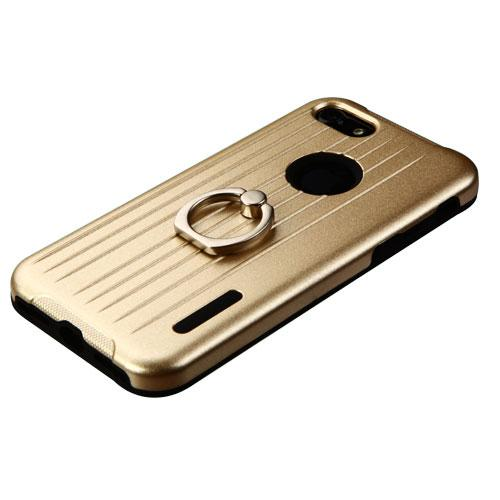Made for Apple iPhone 8/7/6S/6 Case, Hybrid Dual Layer Hard Case on Silcone Skin w/ Metal Ring Stand [Gold/ Black] with Travel Wallet Phone Stand by Redshield