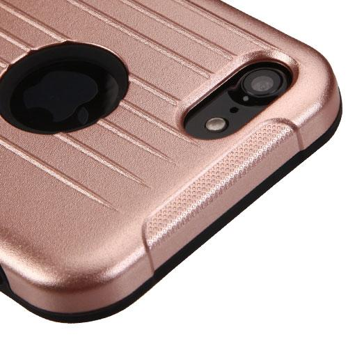 Apple iPhone 8/7/6S/6 Case, Hybrid Dual Layer Hard Case on Silcone Skin w/ Metal Ring Stand [Rose Gold/ Black] with Travel Wallet Phone Stand