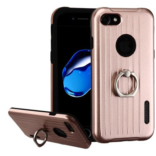 Made for Apple iPhone 8/7/6S/6 Case, Hybrid Dual Layer Hard Case on Silcone Skin w/ Metal Ring Stand [Rose Gold/ Black] with Travel Wallet Phone Stand by Redshield