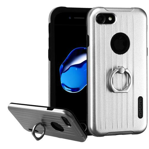 Apple iPhone 8/7/6S/6 Case, Hybrid Dual Layer Hard Case on Silcone Skin w/ Metal Ring Stand [Silver/ Black] with Travel Wallet Phone Stand