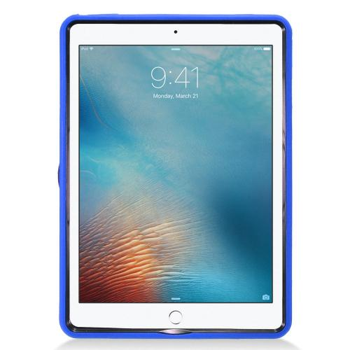 Apple iPad 9.7 inch (2017) Hybrid Case, Supreme Protection Silicone Skin Case on Hard Case Dual Layer Hybrid Case w/ Kickstand [Blue]