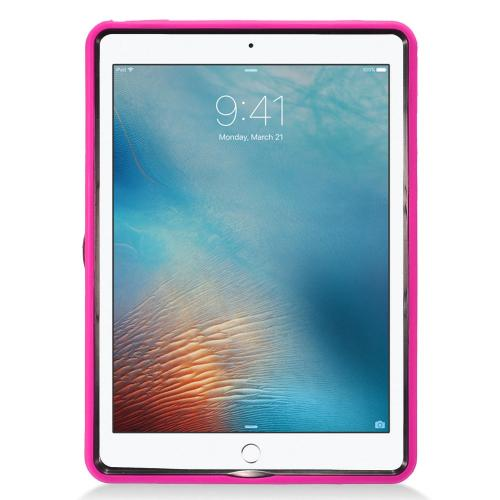 Apple iPad 9.7 inch (2017) Hybrid Case, Supreme Protection Silicone Skin Case on Hard Case Dual Layer Hybrid Case w/ Kickstand [Hot Pink]