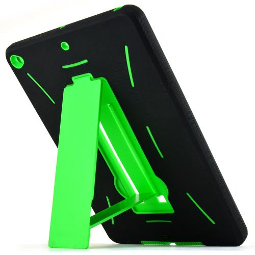 Made for Apple iPad Air 2 Neon Green/ Black Silicone Skin Case on Hard Cover Case w/ Kickstand by Redshield