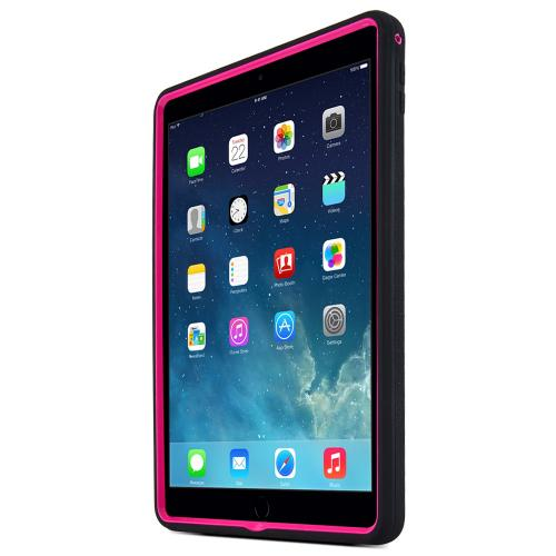 Hot Pink/ Black Apple iPad Air 2 Silicone Skin Case on Hard Cover Case w/ Kickstand
