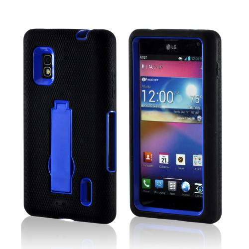 Black Silicone on Blue Hard Case w/ Kickstand for LG Optimus G (AT&T)
