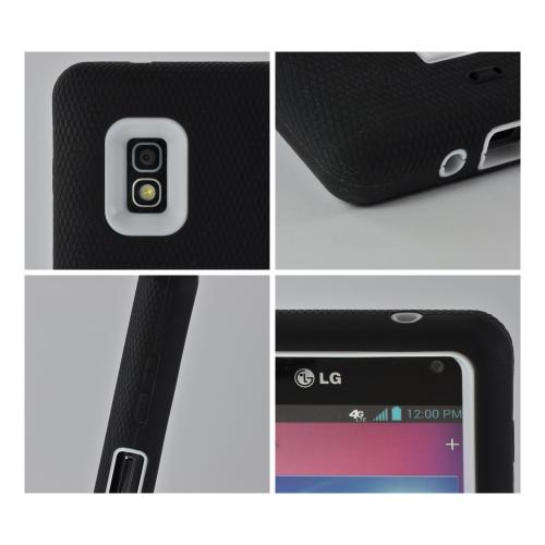 Black Silicone on White Hard Case w/ Kickstand for LG Optimus G (AT&T)