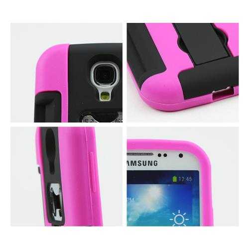 Hot Pink/ Black Silicone Skin Over Hard Case w/ Bottle Opener, ID Holder & Stand for Samsung Galaxy S4
