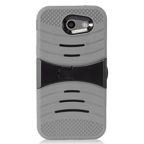 Samsung Galaxy J3 Emerge Case, Supreme Protection Silicone Case on Hard Case Dual Layer Hybrid Case w/ Kickstand [Gray/ Black] with Travel Wallet Phone Stand