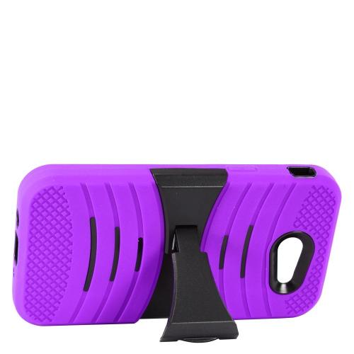 Samsung Galaxy J3 Emerge Case, Supreme Protection Silicone Case on Hard Case Dual Layer Hybrid Case w/ Kickstand [Purple/ Black] with Travel Wallet Phone Stand