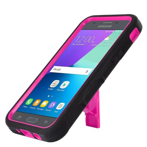 Samsung Galaxy J3 Emerge Case, Supreme Protection Silicone Skin Case on Hard Case Dual Layer Hybrid Case w/ Kickstand [Black/ Hot Pink] with Travel Wallet Phone Stand