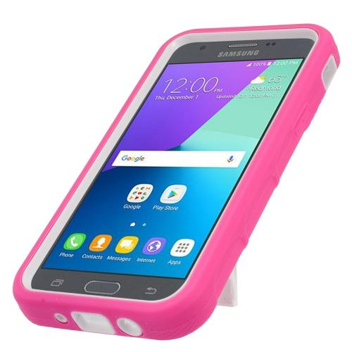 Samsung Galaxy J3 Emerge Case, Supreme Protection Silicone Skin Case on Hard Case Dual Layer Hybrid Case w/ Kickstand [Hot Pink/ White] with Travel Wallet Phone Stand