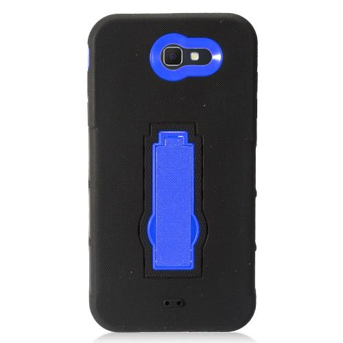 Samsung Galaxy J7 [2017]/ Galaxy J7 Perx/ J7 V/ Galaxy Halo Case, Supreme Protection Silicone Skin Case on Hard Case Dual Layer Hybrid Case w/ Kickstand [Black/ Blue] with Travel Wallet Phone Stand