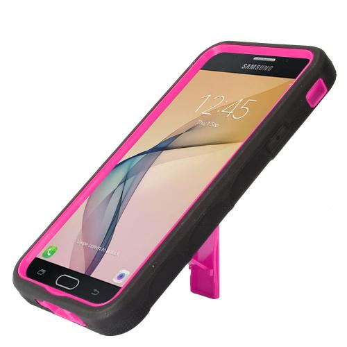 Samsung Galaxy J7 [2017]/ Galaxy J7 Perx/ J7 V/ Galaxy Halo Case, Supreme Protection Silicone Skin Case on Hard Case Dual Layer Hybrid Case w/ Kickstand [Black/ Hot Pink] with Travel Wallet Phone Stand