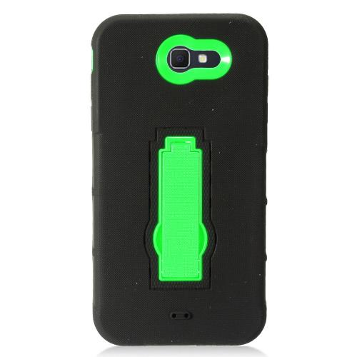 Samsung Galaxy J7 [2017]/ Galaxy J7 Perx/ J7 V/ Galaxy Halo Case, Supreme Protection Silicone Skin Case on Hard Case Dual Layer Hybrid Case w/ Kickstand [Black/ Neon Green] with Travel Wallet Phone Stand